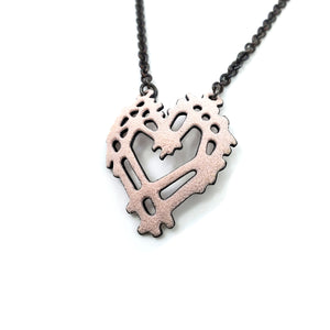 Stick and Stone Heart Necklace in Pale Pink