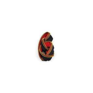 Small Knotted Zipper Pin - Black, Red and Gold