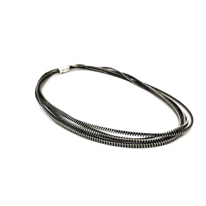 Convertible Saturn Zipper Necklace - Black and Silver