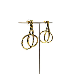 Large Twisted Loop Earrings - Black and Gold