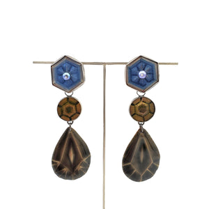 Blue, Amber, and Smokey Quartz 3 Drop - Convertible Earrings