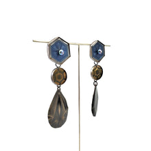 Load image into Gallery viewer, Blue, Amber, and Smokey Quartz 3 Drop - Convertible Earrings