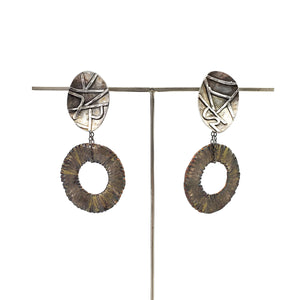 Gold and Gray Fringed Hoops