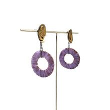 Load image into Gallery viewer, Violet Fringe Hoops