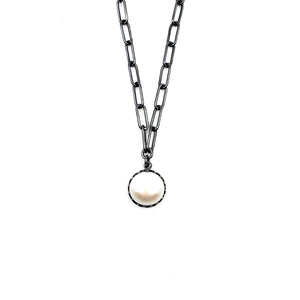 Oval Chain with Pearl Pendant