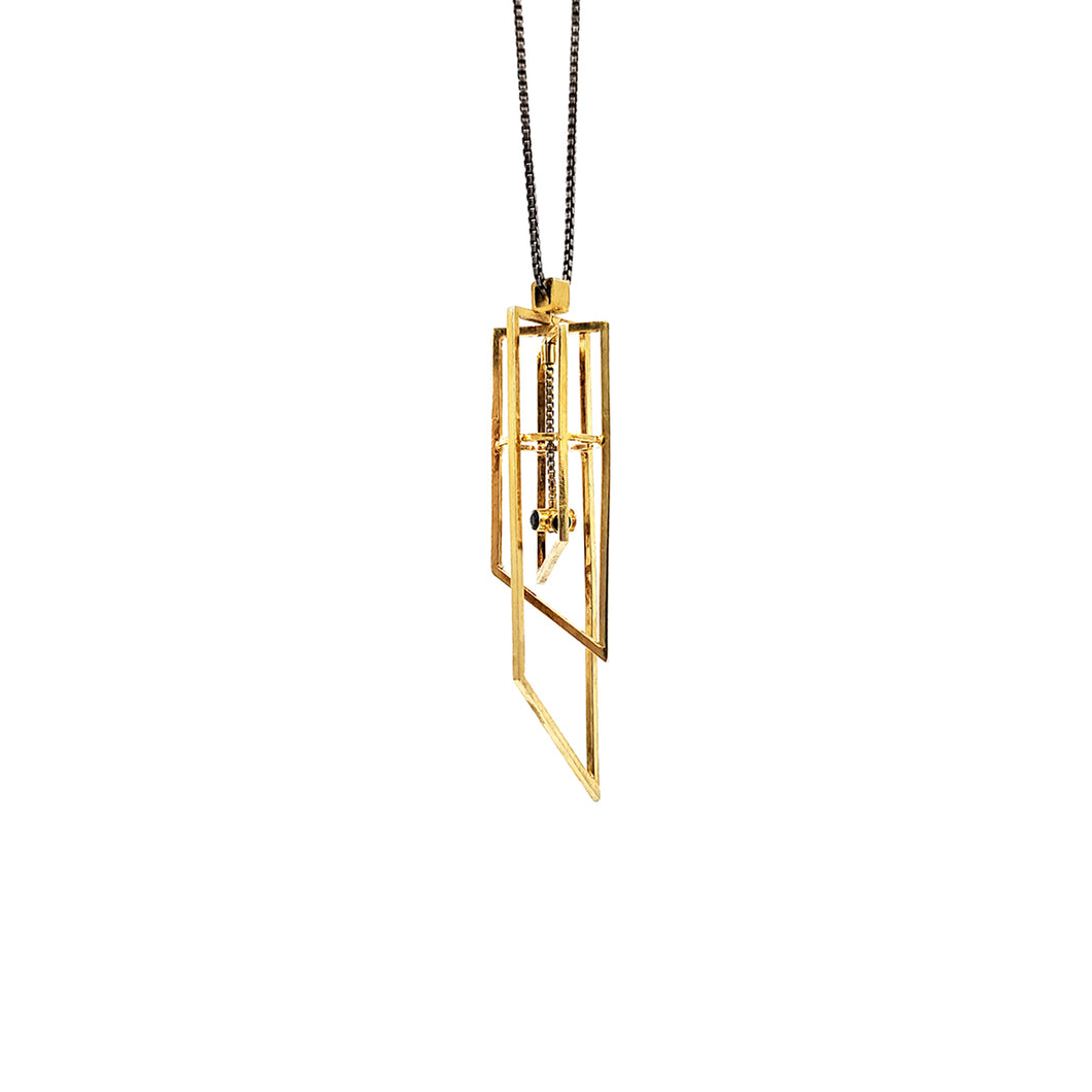 Deco Chandelier Pendant in Vermeil with Black Spinel
