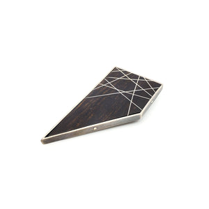 Quadrilateral Ebony Brooch with Inlay