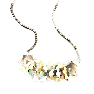 Mother of Pearl Stacked Crystal Pearl Necklace