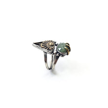 Load image into Gallery viewer, Green Kyanite Ammonite Talisman Ring