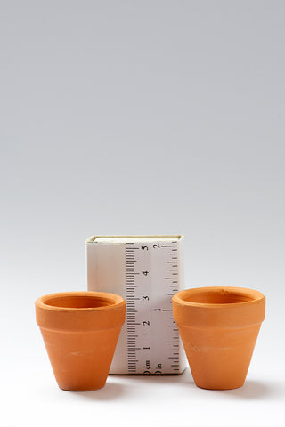 Set of 2 1/12th scale Large Terracotta Pots