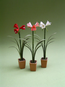 Amaryllis Paper Flower kit for 1/12th Dollhouses, Florists and Miniature Gardens