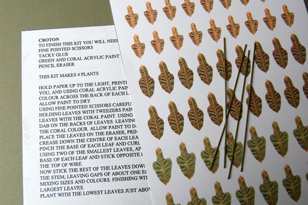 Croton Paper Flower Kit  for 1/12th scale Dollhouses, Florists and Miniature Gardens