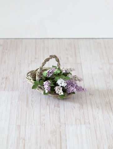 12th Scale Wicker Flower Basket filled with Lilac blooms