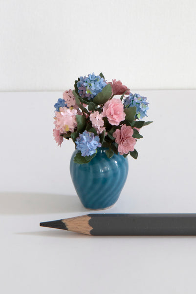 12th Scale Artisan Pink and Blue summer Flower Arrangement
