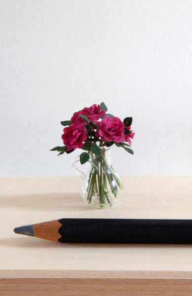 12th Scale Artisan Magenta Pink Roses in a clear glass Jug