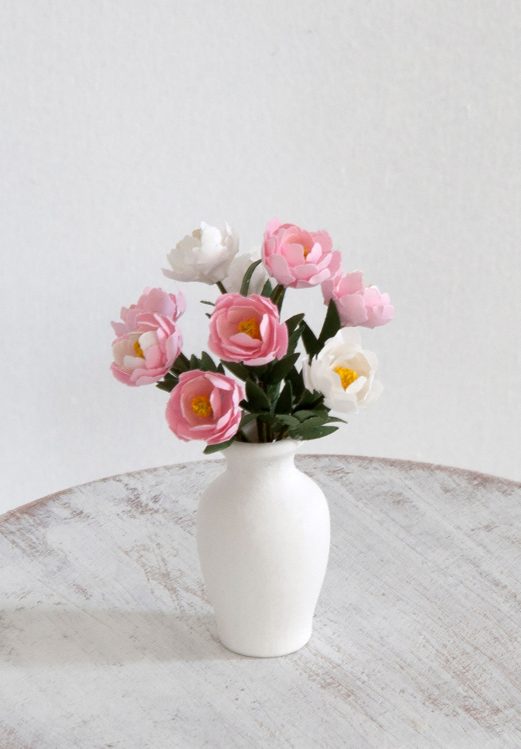 12th Scale Artisan White Ceramic Vase filled with Peonies