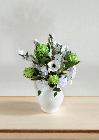 12th Scale Artisan large white jug filled with summer flowers in white and green