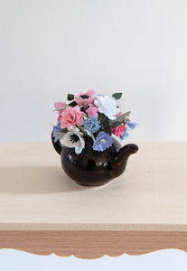 12th Scale Artisan Large brown teapot filled white pink and blue summer flowers