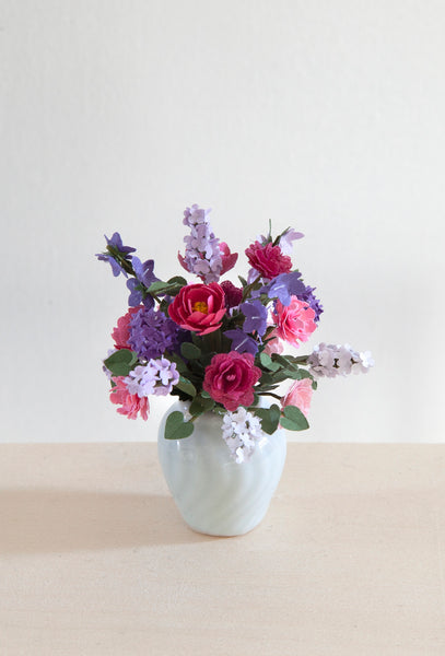 12th Scale Artisan white vase filled with Pink and Purple summer flowers