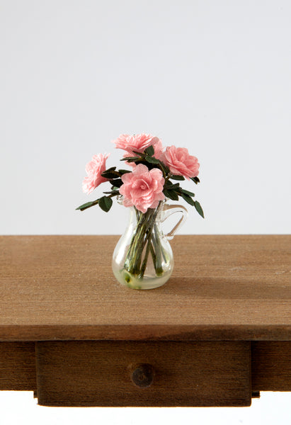 12th Scale Artisan Pink Roses in a clear glass Jug