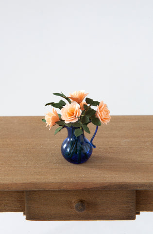 12th Scale Artisan Pale Apricot Roses in a blue glass Jug