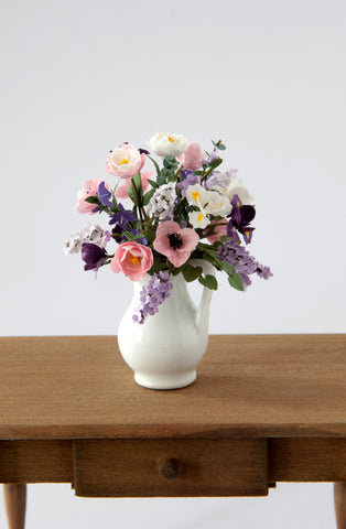 12th Scale Artisan large white jug filled with summer flowers in pinks, purples and white