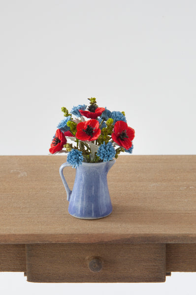 12th Scale Hand Made Cornflowers and Poppies in blue ceramic jug