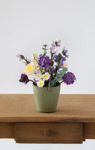 12th Scale Artisan small green metal bucket filled with yellow, purple and white early summer flowers
