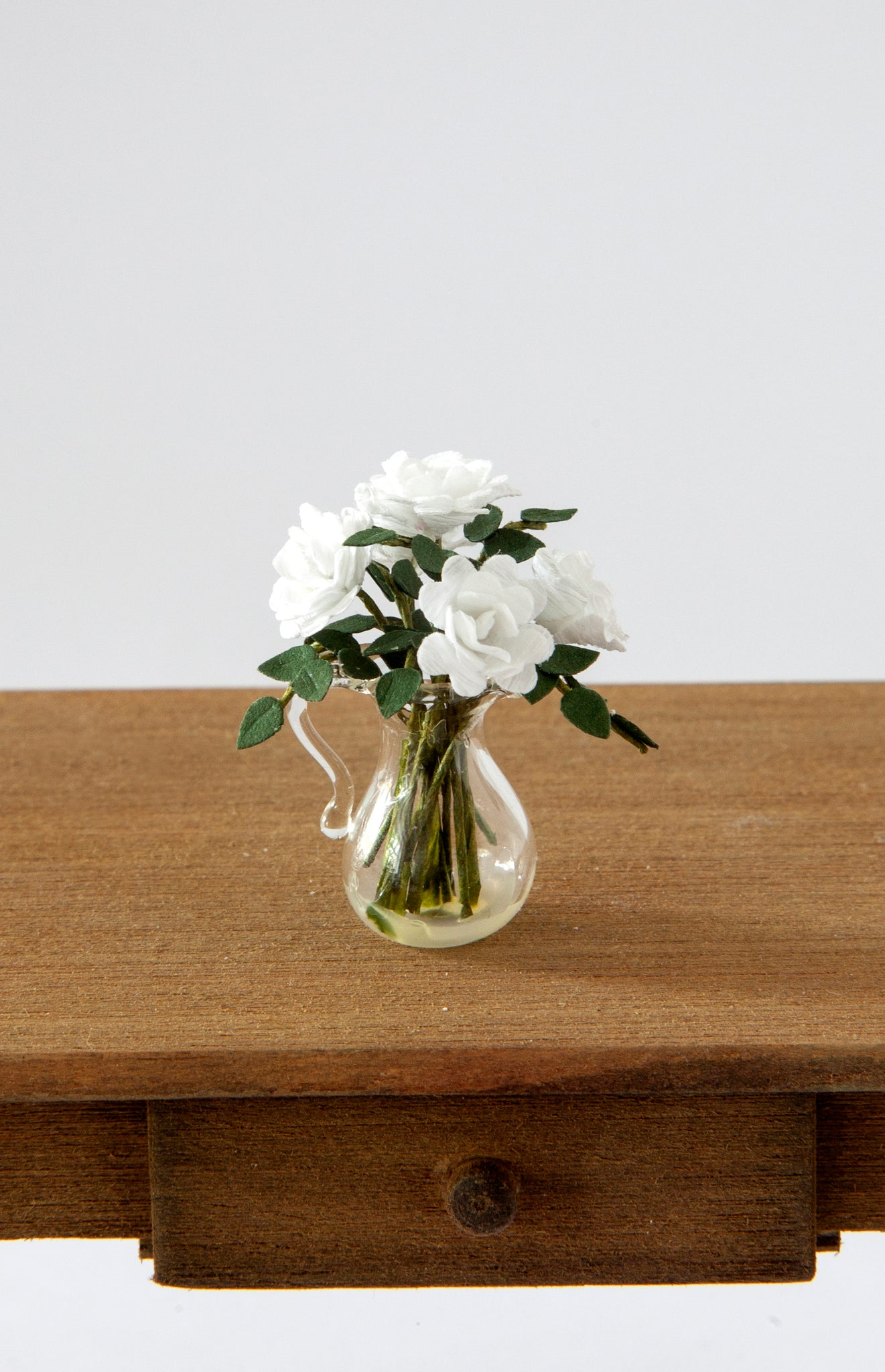 12th Scale Artisan White Roses in a clear glass Jug