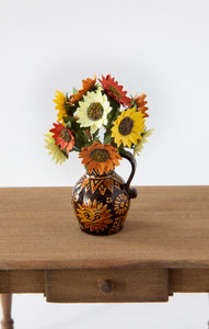 12th Scale Hand Made Sunflowers in a Duncan White Sun Jug