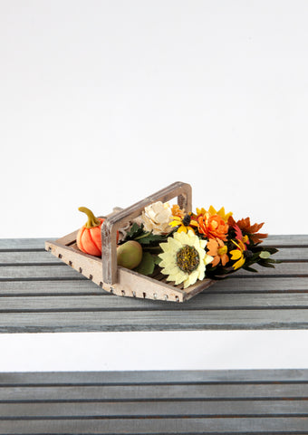 12th Scale Hand Made Wooden Flower Basket filled with yellow and orange Late Summer Flowers and Squash, Apples and Scissors