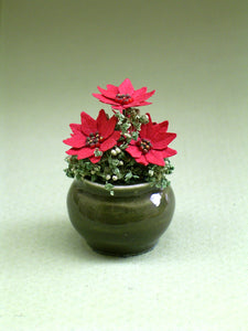 Poinsettia Flower Kit  for 1/12th scale Dollhouses, Florists and Miniature Gardens