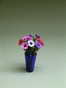 Anemone Paper Flower kit for 1/12th scale Dollhouses, Florists and Miniature Gardens