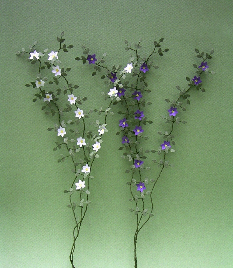 Clematis Paper Flower Kit for 1/12th scale Dollhouses, Florists and Miniature Gardens