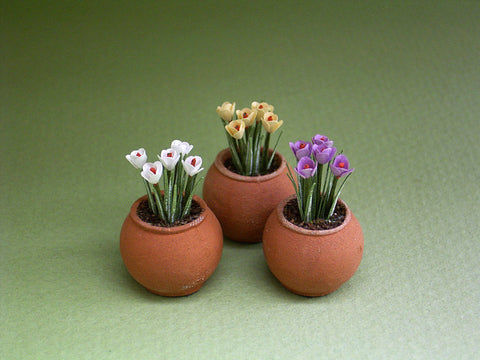 Crocus Paper Flower Kit  for 1/12th scale Dollhouses, Florists and Miniature Gardens