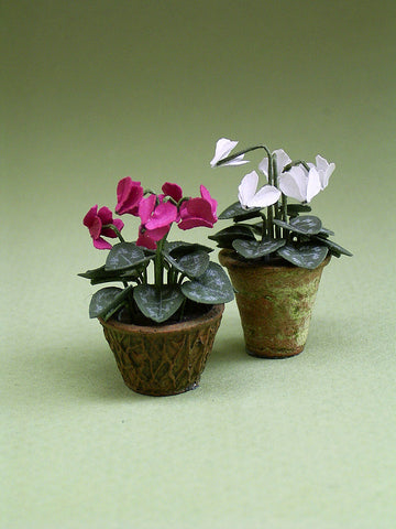Cyclamen Paper Flower Kit  for 1/12th scale Dollhouses, Florists and Miniature Gardens