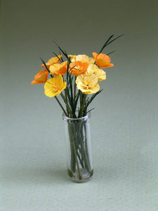 Californian Poppy Paper Flower Kit  for 1/12th scale Dollhouses, Florists and Miniature Gardens
