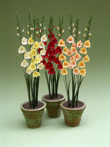 Gladioli Paper Flower Kit  for 1/12th scale Dollhouses, Florists and Miniature Gardens
