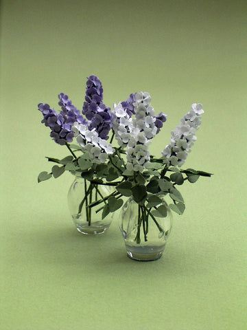 Lilac Paper Flower Kit  for 1/12th scale Dollhouses, Florists and Miniature Gardens