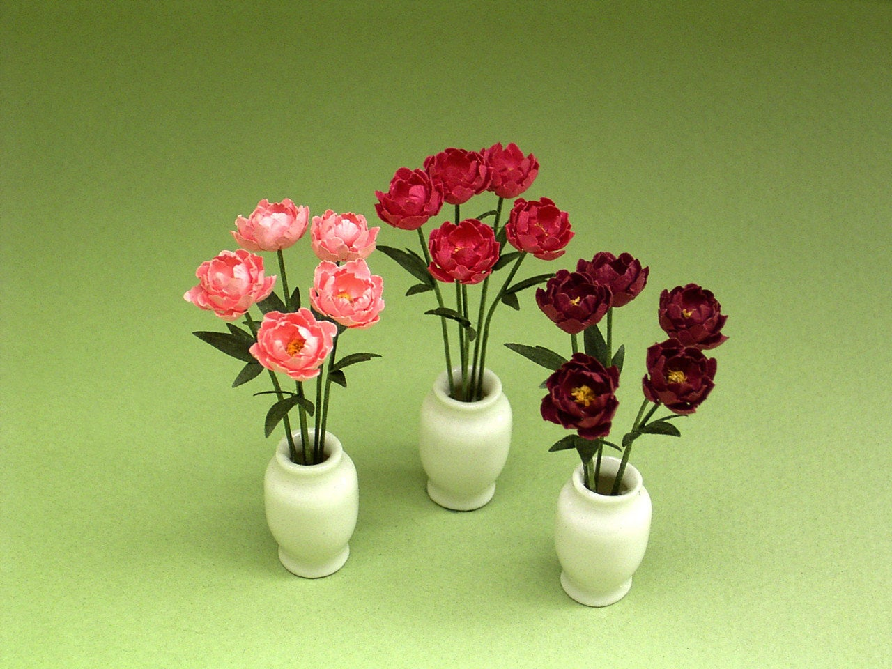Peony Paper Flower Kit  for 1/12th scale Dollhouses, Florists and Miniature Gardens.