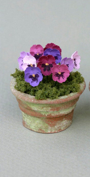 Large Pansies Paper Flower Kit  for 1/12th scale Dollhouses, Florists and Miniature Gardens