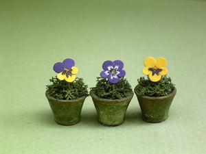 Pansy Paper Flower Kit  for 1/12th scale Dollhouses, Florists and Miniature Gardens