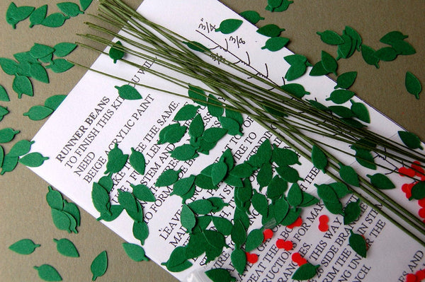 Runner Bean Paper Flower Kit  for 1/12th scale Dollhouses, Florists and Miniature Gardens