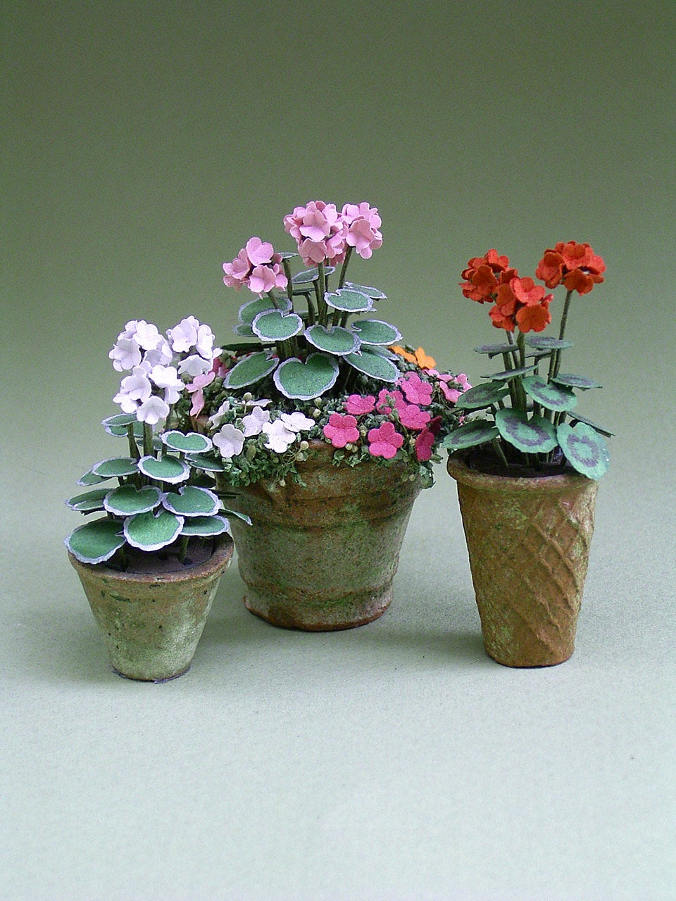 Geranium Paper Flower Kit  for 1/12th scale Dollhouses, Florists and Miniature Gardens