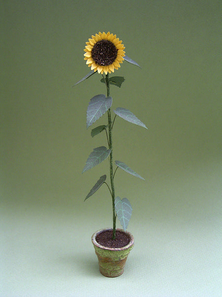 Giant Sunflower Plant Paper Flower Kit  for 1/12th scale Dollhouses, Florists and Miniature Gardens