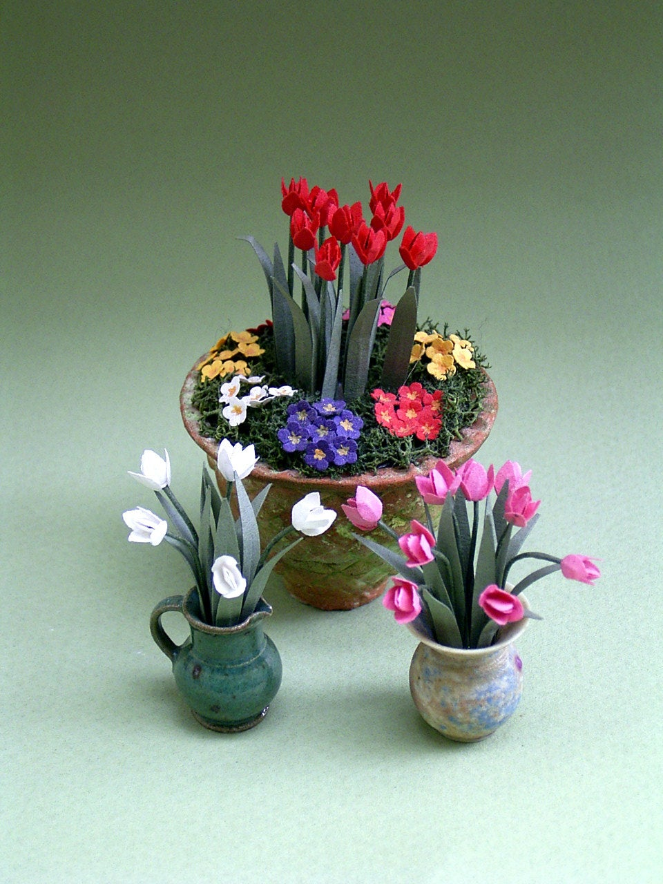Tulips Paper Flower Kit  for 1/12th scale Dollhouses, Florists and Miniature Gardens