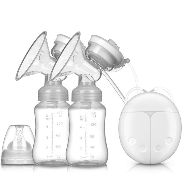 Double Electric Breast Pumps USB Powerful Suction Nipple Pump With Baby Milk Bottle Cold Heat Pad Breast feeding Tools T2236