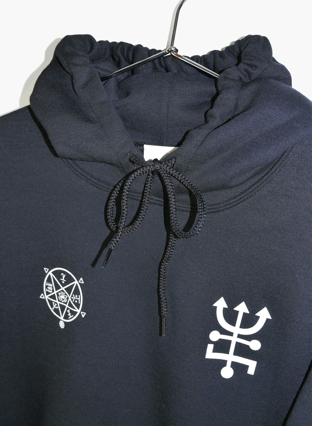 Black hoodie with crystal vision design hand screen printed.