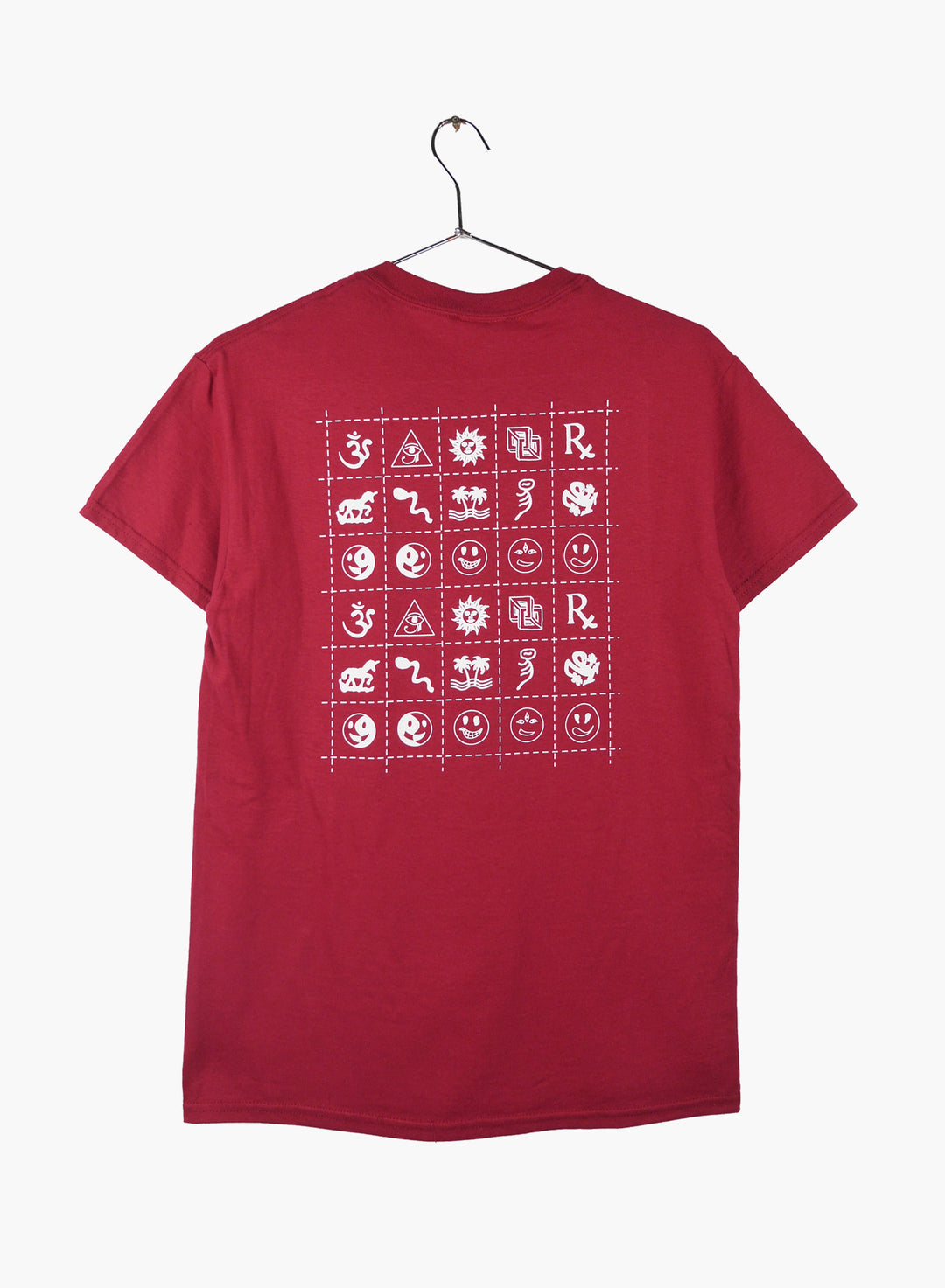 t shirt cotton burgundy with blotter design hand screen printed front and back.
