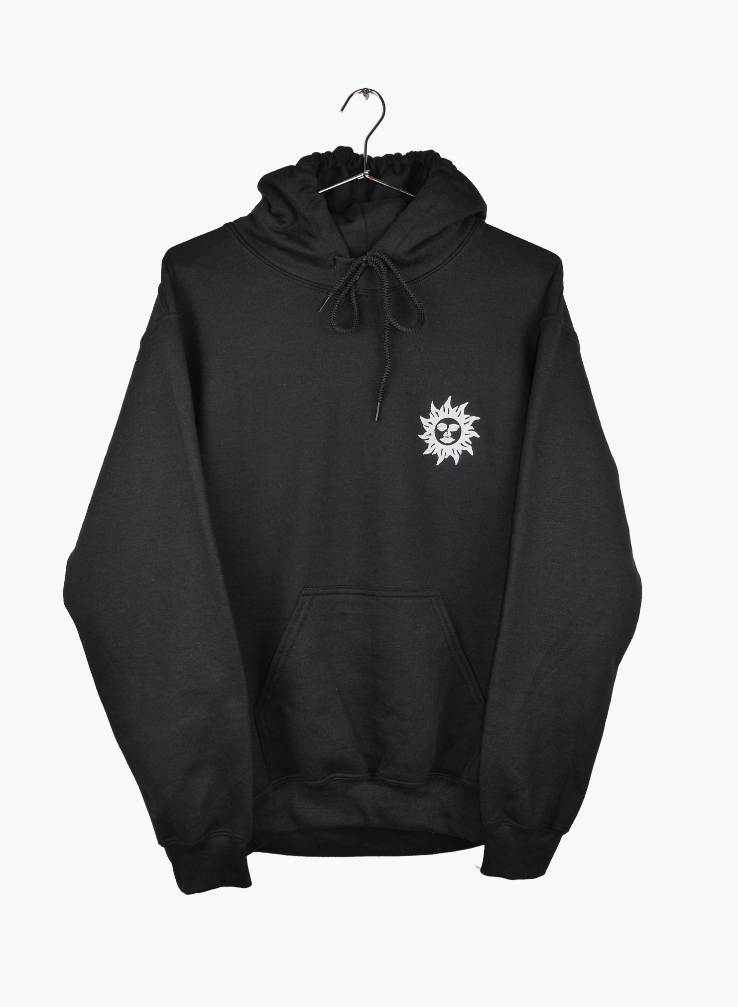Hoodie black with sunshine makers artwork hand screen printed front and back.